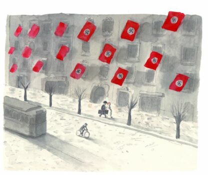 Vägg med hakkorsflaggor